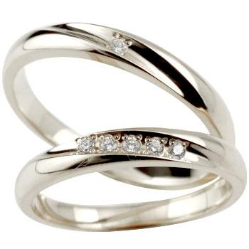 結婚指輪 マリッジリング ペアリング 指輪 ダイヤ ダイヤモンド ホワイトゴールドk18 ハンドメイド 結婚記念リング 2本セット メンズ レディース 名入れ18k 18金【コンビニ受取対応商品】 指輪 大きいサイズ対応 送料無料