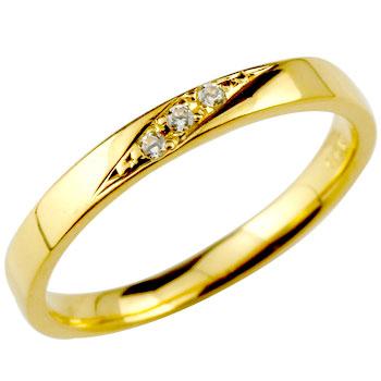 ダイヤモンドリング 婚約指輪 エンゲージリング 指輪 ダイヤ ストレート イエローゴールドk18 レディース 18k 18金【コンビニ受取対応商品】 大きいサイズ対応 送料無料