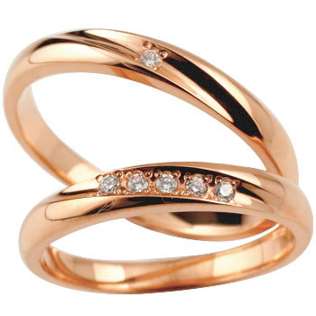 結婚指輪 マリッジリング ペアリング 指輪 ダイヤ ダイヤモンド ピンクゴールドk18 ハンドメイド 結婚記念リング 2本セット メンズ レディース 名入れ18k 18金【コンビニ受取対応商品】 指輪 大きいサイズ対応 送料無料