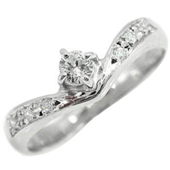 鑑定書付 エンゲージリング 婚約指輪 指輪 ダイヤ ダイヤモンド リング ピンキーリング ホワイトゴールドK18 一粒ダイヤモンド 0.16ct SIクラス 立て爪【コンビニ受取対応商品】 大きいサイズ対応 送料無料