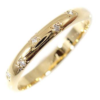 [送料無料]イエローゴールドk18 指輪 ダイヤ ダイヤモンド リング エンゲージリング 婚約指輪 ピンキーリング ダイヤモンド 0.03ct 指輪 K18 爪なし【コンビニ受取対応商品】