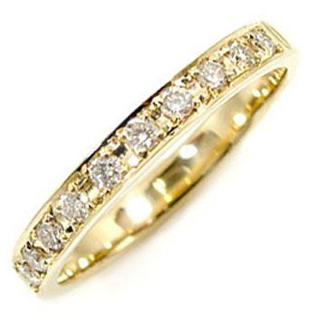 ピンキーリング ダイヤモンドリング 0.20ct エンゲージリング 婚約指輪 イエローゴールドk18 エタニティリング K18 レディース【コンビニ受取対応商品】 大きいサイズ対応 送料無料