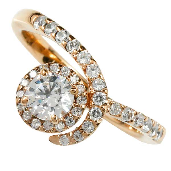 美しく可憐に輝く天然ダイヤモンド 鑑定書付き 婚約指輪 エンゲージリング ダイヤモンドリング ダイヤ リング ピンクゴールドk18 指輪 VSクラス 0.30ct 取り巻き レディース【コンビニ受取対応商品】 大きいサイズ対応 送料無料