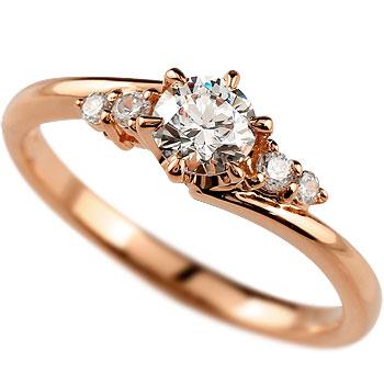 鑑定書付 婚約指輪 ダイヤモンド リング ダイヤ0.37ct 一粒ダイヤモンド 大粒ダイヤモンド SIクラス 指輪 エンゲージリング ピンクゴールドK18 立て爪【コンビニ受取対応商品】 大きいサイズ対応 送料無料