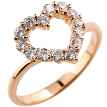 [送料無料]婚約指輪 エンゲージリング オープンハート ダイヤモンドリング ピンクゴールドk18リング 指輪 ピンキーリング ダイヤ ダイヤモンド 18金 レディース【コンビニ受取対応商品】