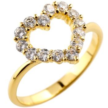 オープンハート ダイヤモンドリング イエローゴールドk18リング 指輪 ピンキーリング ダイヤ ダイヤモンド 18金 レディース【コンビニ受取対応商品】 大きいサイズ対応 送料無料