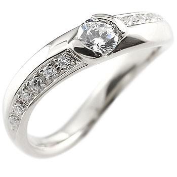 婚約指輪 エンゲージリング ダイヤモンドリング プラチナ pt900 リング 大粒 ダイヤモンド リング 0.25ct ウェーブ レディース【コンビニ受取対応商品】 大きいサイズ対応 送料無料