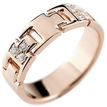 [送料無料]婚約指輪 エンゲージリング ダイヤモンドリング 指輪 ダイヤモンド リング ピンクゴールドk18 ピンキーリング ダイヤ 幅広 k18 レディース【コンビニ受取対応商品】