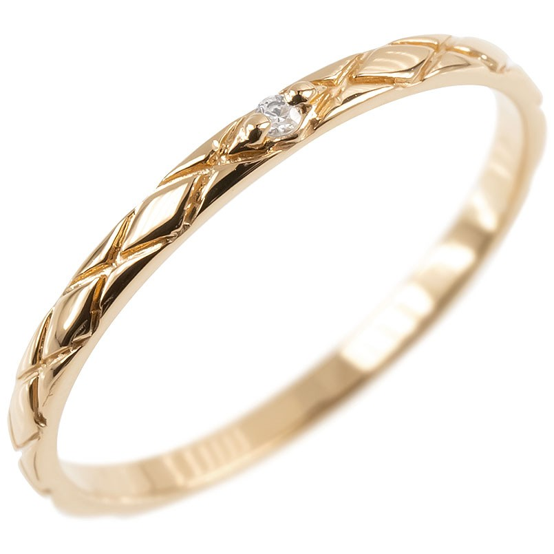 ダイヤモンドリング シンプル ピンクゴールドk18 ピンキーリング 指輪 華奢リング 重ね付けリング 指輪 細め 細身 18k 18金 アンティーク レディース【コンビニ受取対応商品】 大きいサイズ対応 送料無料