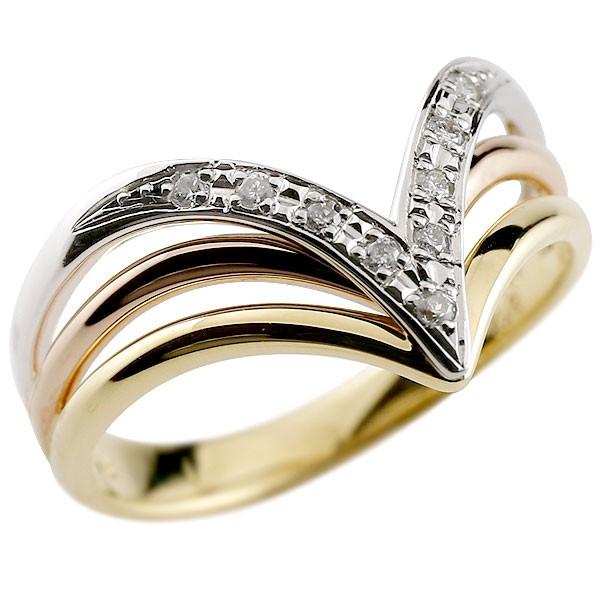 ダイヤモンドリング 3色 スリーカラー コンビリング 指輪 ダイヤ ピンキーリング V字リング プラチナ ゴールド レディース【コンビニ受取対応商品】 大きいサイズ対応 送料無料