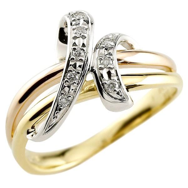 [送料無料]プラチナ ゴールド 婚約指輪 エンゲージリング ダイヤモンドリング 3色 スリーカラー コンビリング 指輪 ダイヤ ピンキーリング レディース【コンビニ受取対応商品】
