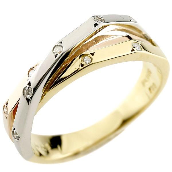 ダイヤモンドリング 3色 3連リング風 スリーカラー コンビリング 指輪 ダイヤ ピンキーリング プラチナ ゴールド レディース【コンビニ受取対応商品】 大きいサイズ対応 送料無料