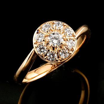 [送料無料]婚約指輪 エンゲージリング ダイヤモンドリング ピンクゴールドk18 指輪 取り巻き スパイラル レディース 18k 18金【コンビニ受取対応商品】