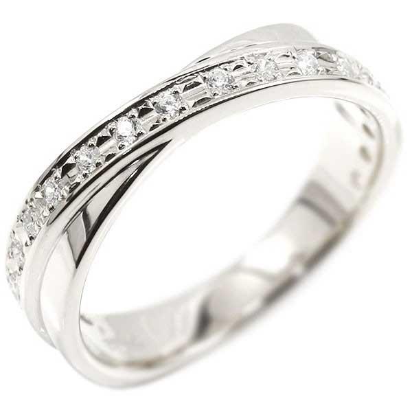 指を綺麗に見せるクロスラインデザイン 婚約指輪 エンゲージリング クロス プラチナ ダイヤモンド リング ピンキーリング ダイヤ 指輪 pt900 レディース【コンビニ受取対応商品】 大きいサイズ対応 送料無料