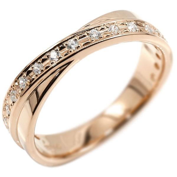 婚約指輪 エンゲージリング ダイヤモンド リング クロス ピンクゴールドk18 ピンキーリング ダイヤ 指輪 18金 18k レディース【コンビニ受取対応商品】 大きいサイズ対応 送料無料