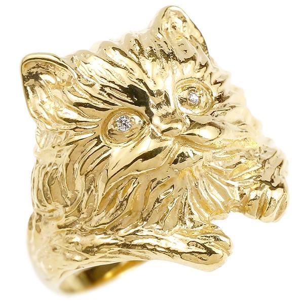 18金 猫 ねこ ネコ リング 指輪 イエローゴールドk18 ダイヤモンド ダイヤ リング 幅広 ピンキーリング レディース【コンビニ受取対応商品】 大きいサイズ対応 送料無料