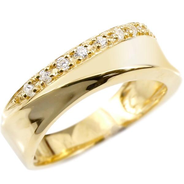 ダイヤモンド リング 18金 イエローゴールドk18 指輪 幅広 ダイヤ エンゲージリング ピンキーリング 18k ダイヤ レディース【コンビニ受取対応商品】 大きいサイズ対応 送料無料