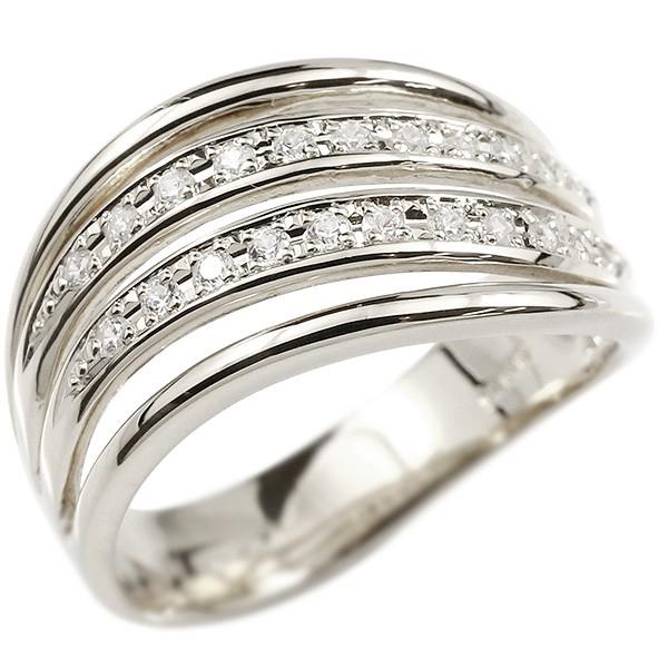 18金 4連 ウェーブ ダイヤモンドリング 指輪 ホワイトゴールドk18 ダイヤモンド リング シンプル 幅広 ピンキーリング 18金 18k レディース【コンビニ受取対応商品】 大きいサイズ対応 送料無料