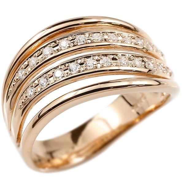 18金 4連 ウェーブ ダイヤモンドリング 指輪 ピンクゴールドk18 ダイヤモンド リング シンプル 幅広 ピンキーリング 18金 18k レディース【コンビニ受取対応商品】 大きいサイズ対応 送料無料