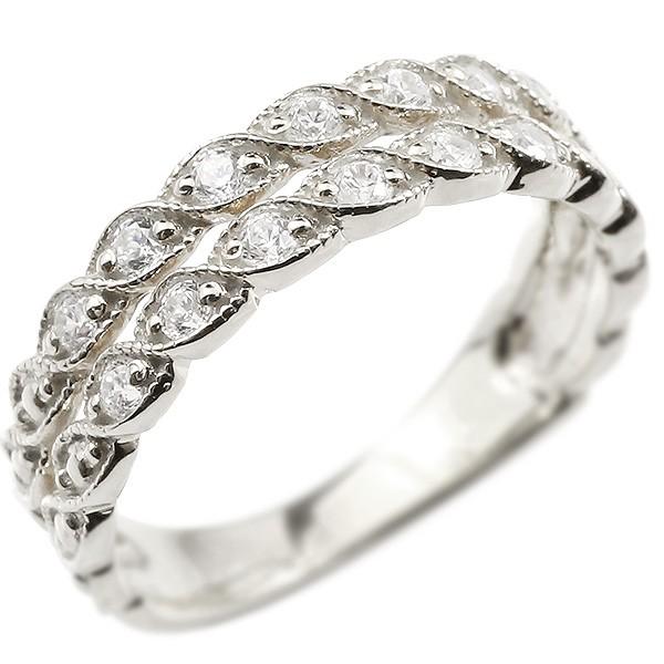 pt900 ダイヤモンドリング 2連 ミル打ち ミルグレイン 葉 つた 綱 ロープ 指輪 プラチナ リング ダイヤモンド シンプル アンティーク ピンキーリング レディース【コンビニ受取対応商品】 大きいサイズ対応 送料無料