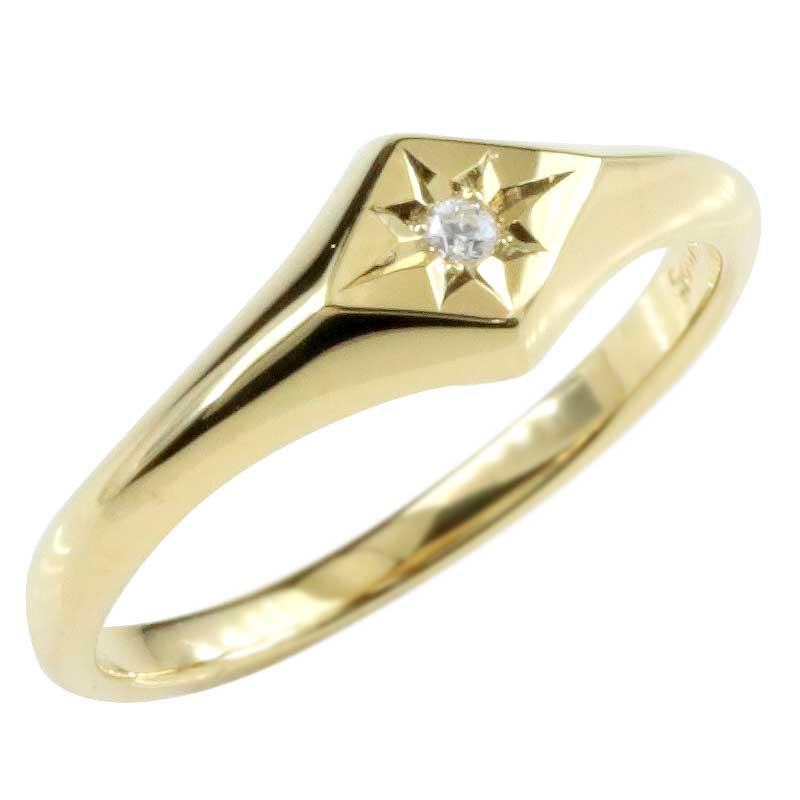 18金 レディース 印台 リング 指輪 ダイヤモンド イエローゴールドk18 ピンキーリング ダイヤモンドリング 小さい印台 ダイヤ 一粒 18k ひし形 ダイヤ型 メンズ【コンビニ受取対応商品】 大きいサイズ対応 送料無料
