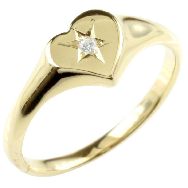 18金 レディース 印台 リング 指輪 ダイヤモンド イエローゴールドk18 ピンキーリング ダイヤモンドリング 小さい印台 ダイヤ 一粒 18k ハート メンズ【コンビニ受取対応商品】 大きいサイズ対応 送料無料
