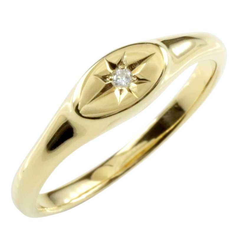 18金 レディース 印台 リング 指輪 ダイヤモンド イエローゴールドk18 ピンキーリング ダイヤモンドリング 小さい印台 ダイヤ 一粒 18k 楕円 丸 円 メンズ【コンビニ受取対応商品】 大きいサイズ対応 送料無料