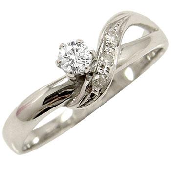 指輪:彼女:妻:プレゼント:送料無料:ダイヤモンド  ダイヤ ダイヤモンド リング ホワイトゴールドK18 指輪 婚約指輪 エンゲージリング ピンキーリング一粒ダイヤモンド 立て爪【コンビニ受取対応商品】 大きいサイズ対応 送料無料