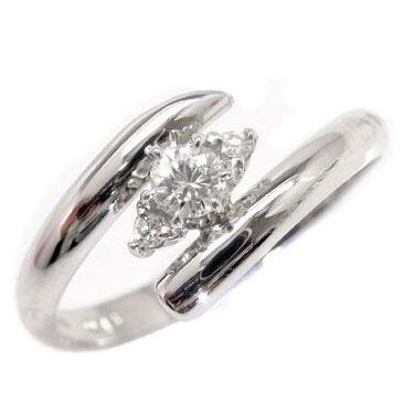 指輪:彼女:妻:プレゼント:送料無料:ダイヤモンドリング 鑑定書付 エンゲージリング ダイヤモンドリング ピンキーリング ダイヤモンド 0.13ctホワイトゴールドK18指輪 ダイヤ SIクラス【コンビニ受取対応商品】 大きいサイズ対応 送料無料