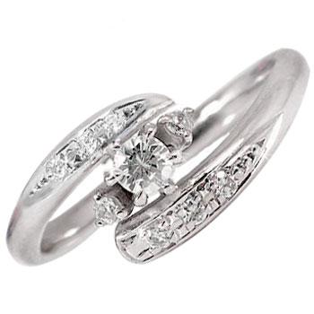 鑑定書付 エンゲージリング ダイヤモンドリング 指輪 ピンキーリング ダイヤモンド 0.20ct ホワイトゴールドK18 ダイヤ SIクラス【コンビニ受取対応商品】 大きいサイズ対応 送料無料
