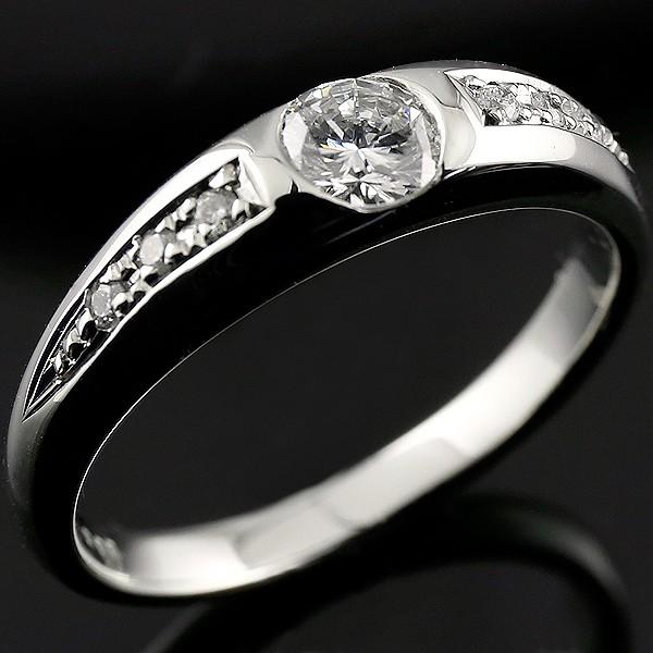 [送料無料]ダイヤモンドリング 一粒ダイヤモンド大粒ダイヤモンド ホワイトゴールドK18 指輪 爪なし 鑑定書付 SIクラス 0.58ct【コンビニ受取対応商品】