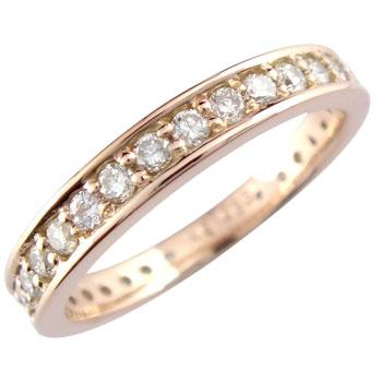 ダイヤモンド リング ピンクゴールドK18 指輪 ピンキーリング エンゲージリング ダイヤ 爪なし 婚約指輪 指輪 エタニティリング ダイヤモンドリング【コンビニ受取対応商品】 大きいサイズ対応 送料無料
