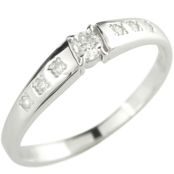鑑定書付 エンゲージリング ダイヤモンドリング ピンキーリング ホワイトゴールドK18 指輪 一粒ダイヤモンド 0.16ct ダイヤ SIクラス【コンビニ受取対応商品】 大きいサイズ対応 送料無料