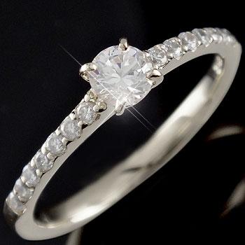 鑑定書付 指輪 ダイヤモンド0.48ct リング ホワイトゴールドk18 婚約指輪 エンゲージリング 一粒ダイヤモンド大粒ダイヤモンド SIクラス 立て爪18k 18金【コンビニ受取対応商品】 大きいサイズ対応 送料無料