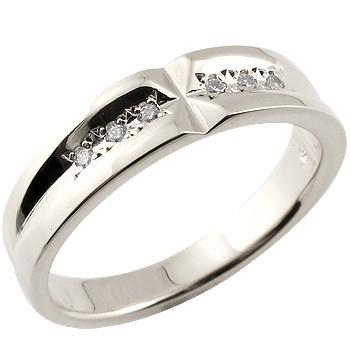 クロス ピンキーリング エンゲージリング ダイヤモンドリング ホワイトゴールドK18 婚約指輪 ダイヤモンド0.06ct 指輪 爪なし【コンビニ受取対応商品】 大きいサイズ対応 送料無料
