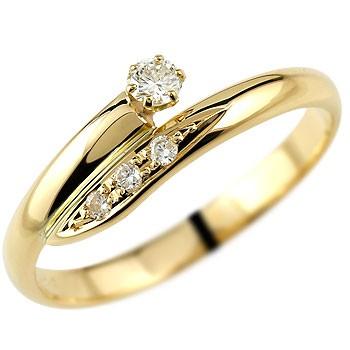 ダイヤモンドリング イエローゴールドk18 ダイヤモンド 0.11ct 指輪 ピンキーリング レディース【コンビニ受取対応商品】 大きいサイズ対応 送料無料