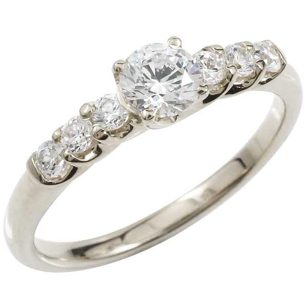 エタニティリング 指輪 ダイヤモンド0.53ct リング 婚約指輪 エンゲージリング ホワイトゴールドK18 一粒ダイヤモンド大粒ダイヤモンド SIクラス 鑑定書付 立て爪【コンビニ受取対応商品】 大きいサイズ対応 送料無料