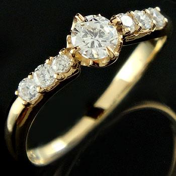 [] ダイヤモンドリング  婚約指輪 エンゲージリング イエローゴールドk18 ピンキーリング18k 18金 レディース【楽ギフ_包装】【コンビニ受取対応商品】