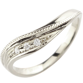 ダイヤモンド リング エンゲージリング 婚約指輪 ホワイトゴールドk18 ミル打ち18k 18金【コンビニ受取対応商品】 大きいサイズ対応 送料無料