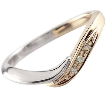 [送料無料]ダイヤモンドリング 婚約指輪 エンゲージリング プラチナ900 イエローゴールドk18 コンビリング コンビネーションリング 指輪 ピンキーリング ソフトライン18k 18金【コンビニ受取対応商品】