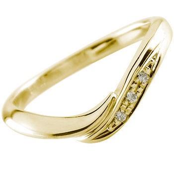 シーンを選ばないシンプルデザイン 流れるようなラインがとても優美 ダイヤモンドリング 婚約指輪 エンゲージリング イエローゴールドk18 リング 指輪 ピンキーリング ソフトライン18k 18金【コンビニ受取対応商品】 大きいサイズ対応 送料無料
