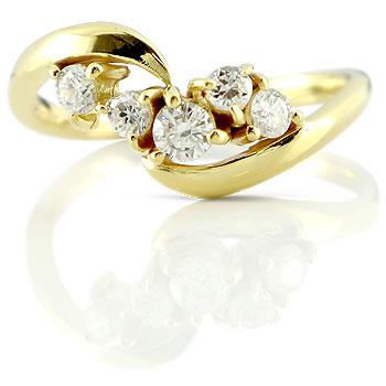 [送料無料]婚約指輪 エンゲージリング ダイヤモンド リング 指輪 イエローゴールドk18 18金 ダイヤモンドリング レディース18k 18金【コンビニ受取対応商品】