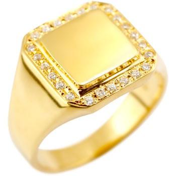 18金 レディース 印台 ダイヤモンドリング 婚約指輪 エンゲージリング イエローゴールドk18 ピンキーリング 18k メンズ【コンビニ受取対応商品】 大きいサイズ対応 送料無料