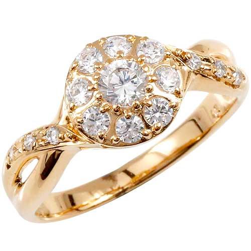 ダイヤモンドリング ピンクゴールドk18 指輪 取り巻き スパイラル レディース 18k 18金【コンビニ受取対応商品】 大きいサイズ対応 送料無料