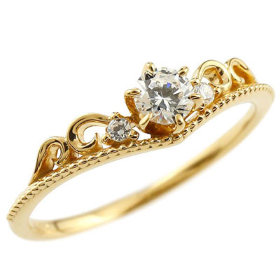 ティアラ ダイヤモンド リング イエローゴールドk18 指輪 ゴールドリング ダイヤモンド0.20ct ミル打ち 18金 18k レディース【コンビニ受取対応商品】 大きいサイズ対応 送料無料