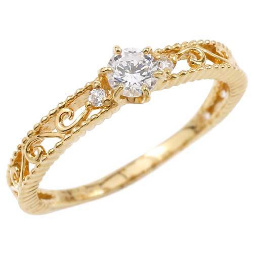 透かし アラベスク ダイヤモンド リング イエローゴールドk18 18金 指輪 ゴールドリング ダイヤモンド0.20ct アンティーク ミル打ち 18k レディース【コンビニ受取対応商品】 大きいサイズ対応 送料無料