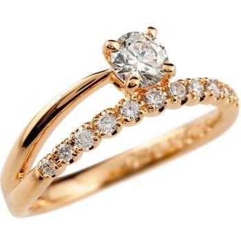 婚約指輪 エンゲージリング ダイヤモンドリング ピンクゴールドk18 ダイヤ 0.46ct 一粒ダイヤモンド 大粒ダイヤモンド リング 指輪 k18 18金【コンビニ受取対応商品】 大きいサイズ対応 送料無料
