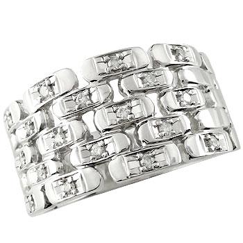 ホワイトゴールドK18 ダイヤモンドリング 指輪 ダイヤモンド 幅広 レディース メンズ【コンビニ受取対応商品】 大きいサイズ対応 送料無料