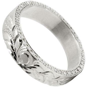 ハワイアンジュエリー ハワイアンリング ホワイトゴールドK18 18k 18金 ダイヤモンドリング 指輪 豪華 フルエタニティ ミル打ち 手彫り ハワジュ 幅広 ブライダルジュエリー【コンビニ受取対応商品】 大きいサイズ対応 送料無料