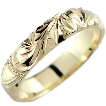 ハワイアンジュエリー ハワイアンリング 指輪 ピンキーリング イエローゴールドk18 18金 18k ミル打ち ハワジュ レディース メンズ0824カード分割【コンビニ受取対応商品】 大きいサイズ対応 送料無料